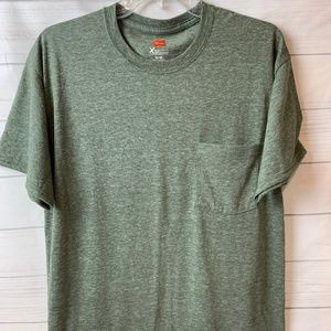 Hanes Mens Soft T-shirt w/pocket Heather Green Med